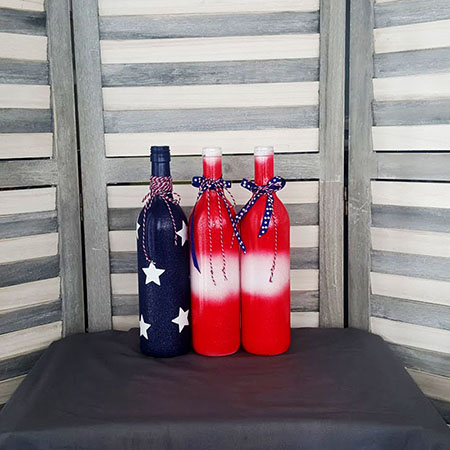 The Fourth Is Just Around Corner Why Not Make Some New Decorations For Your House Or Backyard Come Join Us Our Patriotic Wine Bottle Pinterest