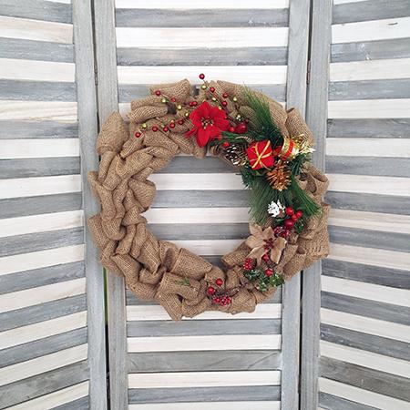 pinterest party christmas burlap wreath - Christmas Burlap Wreath