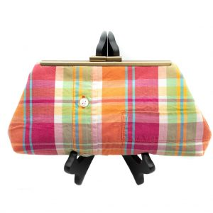 Pink-Plaid-Shirt-Clutch-Front-Closed